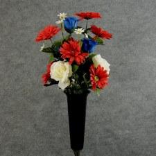 Pre-Made Memorial Cone Arrangement- Red, White, & Blue