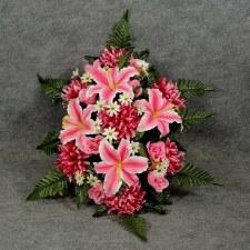 Pre-Made Memorial Saddle Arrangement- Pink/Beauty