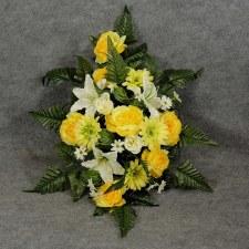Pre-Made Memorial Saddle Arrangement- Yellow/Cream