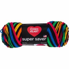 Red Heart Super Saver Yarn, Stripes- Primary