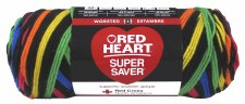 Red Heart Super Saver Stripe Yarn- Primary