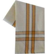 "Two Striped Cream 20""x28"" Tea Towel- Pumpkin with Black"