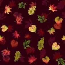 Pumpkin Harvest Bolted Fabric- Dark Leaves