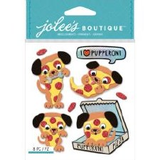 Jolee's Animal Dimensional Stickers- Pupperoni Pizza