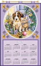 Jeweled 2021 Calendar - Puppy & Kitten