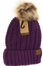 Kid's CC Knit Cuffed Beanie w/ Fur Pom- Purple