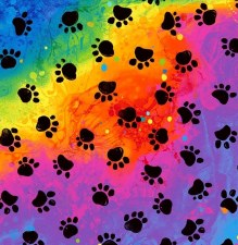 Cat & Dog Bolted Fabric- Rainbow Paws