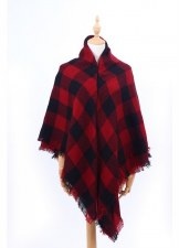 Blanket Scarf- Buffalo Check: Black & Red