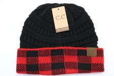 CC Knit Beanie- Buffalo Check, Red & Black