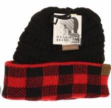 CC Knit Beanie Tail- Red & Black Buffalo Check