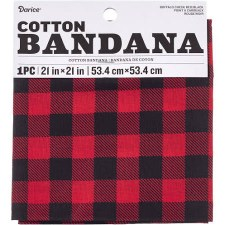 "Cotton Bandana 21""x21""- Red Buffalo Check"