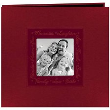 Pioneer 9x9 Photo Album- Leatherette, Red Embossed