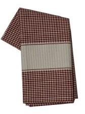 "Mini Check w/ Cream Band 20"" x 28"" Tea Towel- Red"