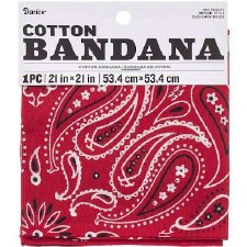 "Cotton Bandana 21""x21""- Paisley Red"