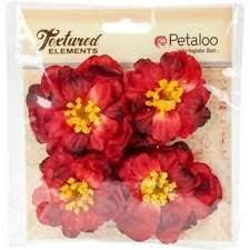 Botanica Ruffled Peony Embellishments- Red