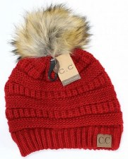 CC Knit Beanie w/ Fur Pom- Red