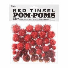 Tinsel Pom-Poms- Red