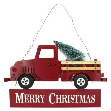 Hanging Merry Christmas Truck Sign