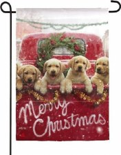 Holiday Garden Flag- Christmas Puppies