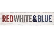 Skinny & Small Wood Sign- Red, White, & Blue