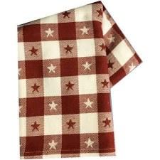 "Star Check 20""x28"" Tea Towel- Red & White"