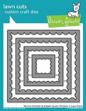 Lawn Fawn Stackable Squares Craft Dies- Reverse Stitched Scalloped