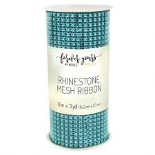 Rhinestone Mesh Ribbon Roll, 3 yards - Turquoise