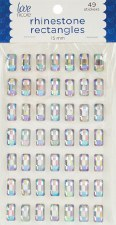 Rhinestone Faceted Rectangle Stickers, 15mm- Iridescent
