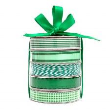 Mini Ribbon Spool 5 Pack- White & Green