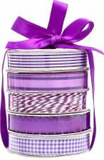 Mini Ribbon Spool 5 Pack- White & Purple