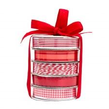 Mini Ribbon Spool 5 Pack- White & Red