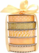 Mini Ribbon Spool 5 Pack- White & Gold