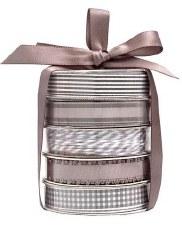 Mini Ribbon Spool 5 Pack- White & Grey