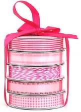 Mini Ribbon Spool 5 Pack- White & Pink