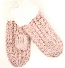 CC Mittens, Chunky Knit & Fuzzy Lined- Rose