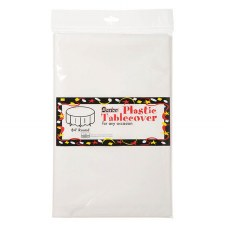 "84"" Round Plastic Tablecloth - White"