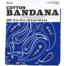 "Cotton Bandana 21""x21""- Paisley Royal Blue"