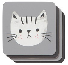 Cork Backed Coasters, 4pk- Cats Meow