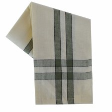 "Two Striped Cream 20""x28"" Tea Towel- Sage with Black"