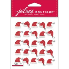 Jolee's Christmas Dimensional Repeats Stickers- Santa Hats