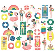 Sunshine & Blue Skies Bits & Pieces Die Cuts- Pool People