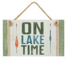 On Lake Time Hanging Sign