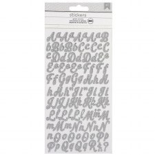 Glitter Alphabet Stickers- Small Script, Silver