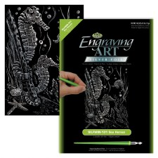 Engraving Art Foil Set- Silver Sea Horses