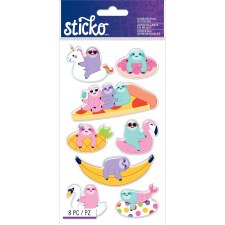 Sticko Dimensional Stickers- Sloths in Floaties