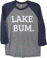 Lake Bum Raglan, Navy & Dark Gray- S