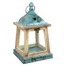 "12"" Lantern- Wood w/ Blue Metal"