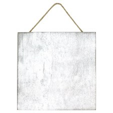 "4.5"" Wood Plaque w/ Jute Hanger- White"