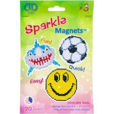 Diamond Facet Art Kit- Sparkle Smile Magnets, 3pk