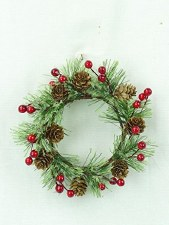 """4"""" Smokey Pine Red Berry Candle Ring"""